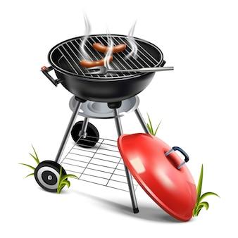 Ilustração de um churrasco de grelha com salsichas e fumaça. isolado no branco