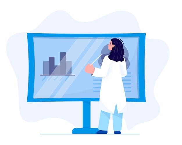 Ilustração de um cientista de jaleco branco em frente a um painel de exposição com um ponteiro, mostrando uma apresentação
