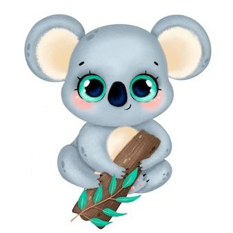 Ilustração de um coala bonito dos desenhos animados com olhos grandes, sentado em uma árvore isolada
