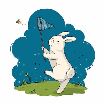 Ilustração de um coelho fofo com uma rede de borboletas pegando um vaga-lume