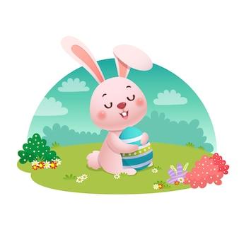 Ilustração de um coelho segurando um ovo de páscoa no campo