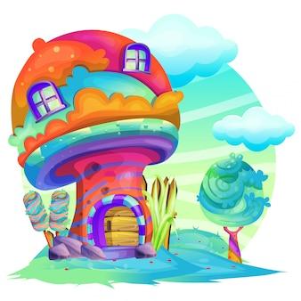Ilustração, de, um, cogumelo, casa