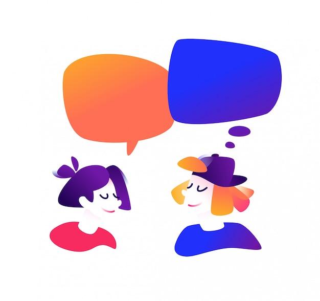 Ilustração, de, um, comunicar, sujeito, e, um, menina