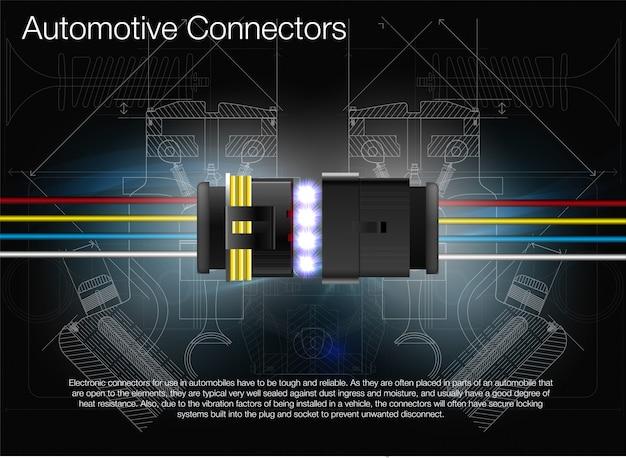 Ilustração de um conector automotivo. pode ser usado como publicidade. formação técnica. todos os elementos da imagem são agrupados.