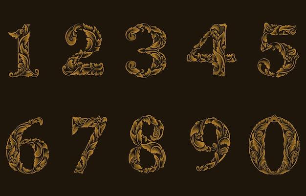 Ilustração de um conjunto de estilo de gravura de números