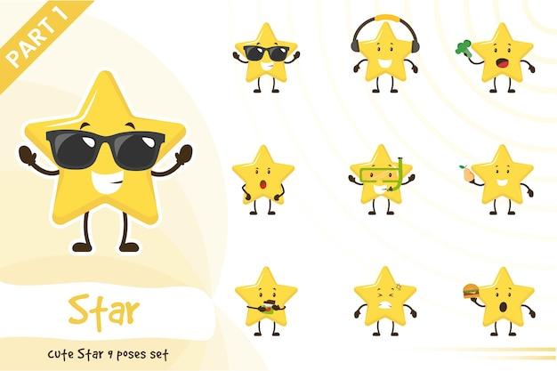 Ilustração de um conjunto de estrelas fofas