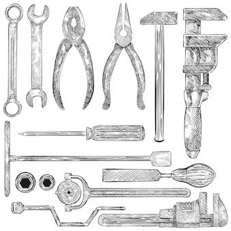 Ilustração de um conjunto de ferramentas mecânicas