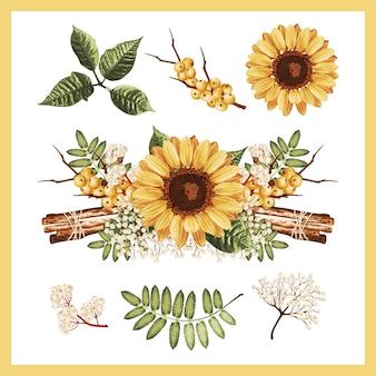 Ilustração de um conjunto de flores de girassol brilhantes.