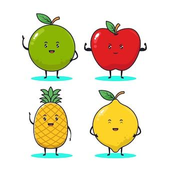 Ilustração de um conjunto de frutas kawaii