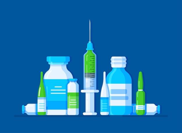 Ilustração de um conjunto de medicamentos
