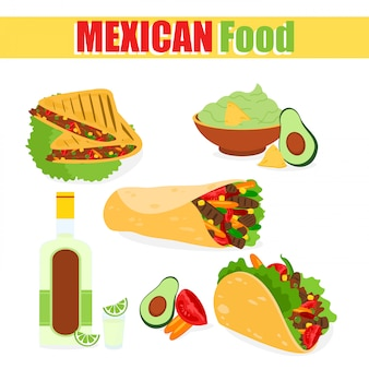 Ilustração de um conjunto de pratos tradicionais mexicanos, tacos, burrito com carne de abacate, milho tequila, sobre um fundo branco em um desenho animado e.