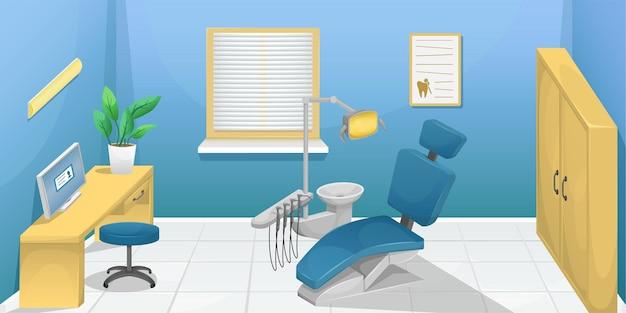 Ilustração de um consultório dentário com uma ilustração de cadeira odontológica