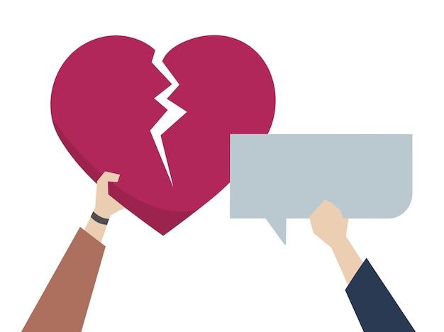 Ilustração de um coração partido