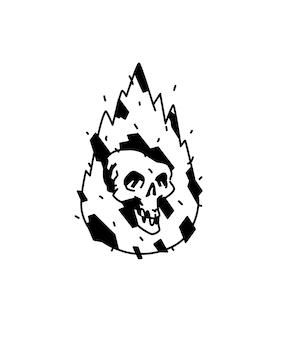 Ilustração de um crânio branco ardente