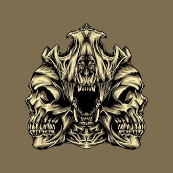 Ilustração de um crânio de leão e dois crânios humanos