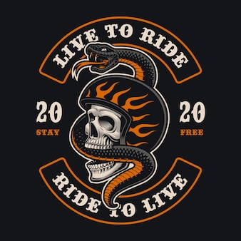 Ilustração de um crânio de motociclista com uma cobra. isso é perfeito para logotipos, estampas de camisa