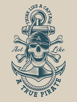 Ilustração de um crânio de pirata com âncora vintage. perfeito para logotipos, design de camisetas e muitos outros usos