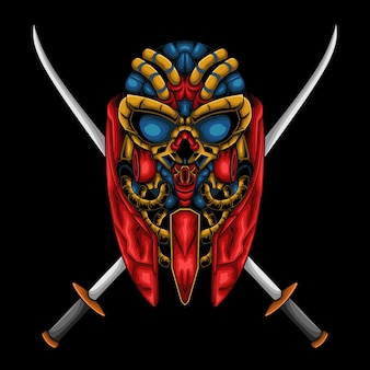 Ilustração de um crânio de robô com duas espadas