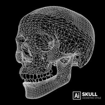Ilustração de um crânio geométrico.