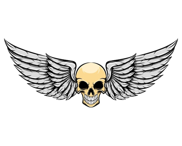 Ilustração de um crânio humano morto com asas