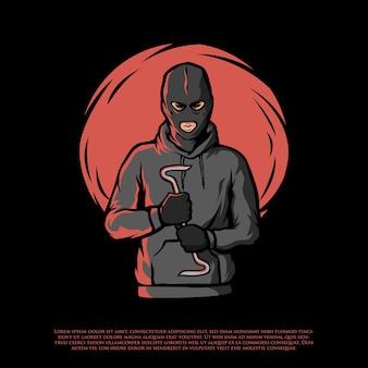 Ilustração de um criminoso com máscara facial
