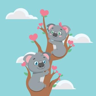Ilustração, de, um, cute, coala, par