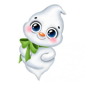 Ilustração de um desenho animado bonito pouco fantasma gordo branco sorridente com um laço verde isolado