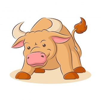 Ilustração de um desenho animado de touro