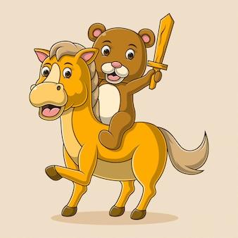 Ilustração de um desenho animado de urso cavalgando um cavalo