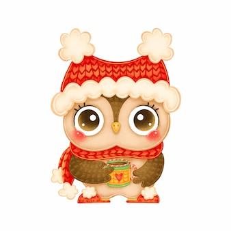 Ilustração de um desenho bonito de coruja de natal com chapéu vermelho e lenço com caneca de chá