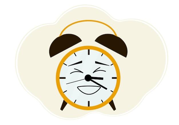 Ilustração de um despertador amarelo com uma emoção risonha.