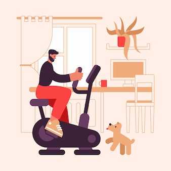 Ilustração de um desportista barbudo sentado na moderna bicicleta ergométrica