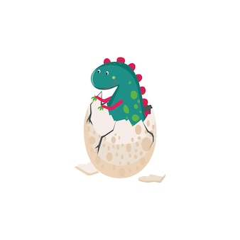 Ilustração de um dinossauro fofo saindo de um ovo