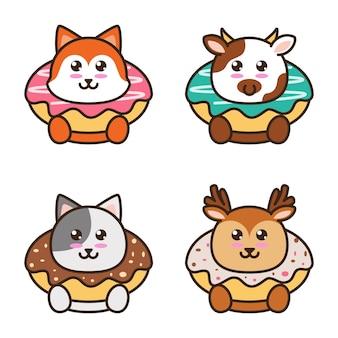 Ilustração de um donut com um estilo de desenho animado animal