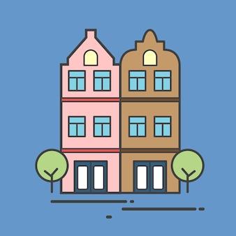 Ilustração, de, um, edifício apartamento
