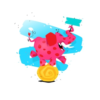 Ilustração de um elefante cor-de-rosa dos desenhos animados em uma bola.