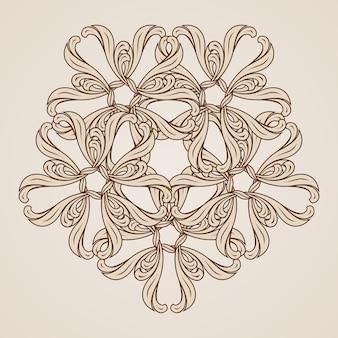 Ilustração de um elemento de design ornamentado em tons de marrom claro e escuro