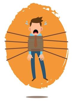 Ilustração de um empresário angustiado com o trabalho