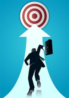 Ilustração de um empresário correndo com uma pasta para o alvo.