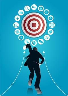 Ilustração de um empresário correndo vá para o alvo com elementos de negócios