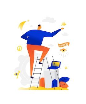 Ilustração de um empresário e uma estrela.