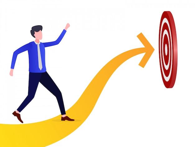 Ilustração de um empresário perseguindo um alvo