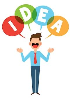 Ilustração de um empresário que emite idéias