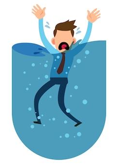 Ilustração de um empresário se afogando na água