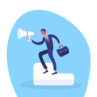 Ilustração de um empresário segurando o alto-falante