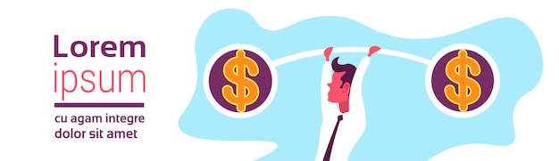 Ilustração de um empresário segurando pesos equilíbrio