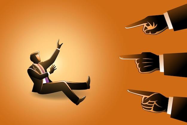 Ilustração de um empresário sendo apontado por dedos gigantes, mãos apontando para culpar um empresário