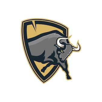 Ilustração, de, um, escudo touro