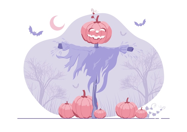 Ilustração de um espantalho de halloween com uma cabeça de lanterna jack o