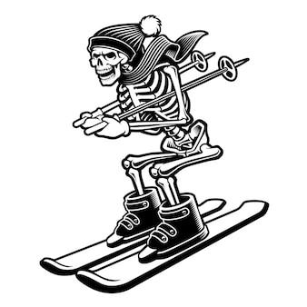 Ilustração de um esqueleto nos esquis isolados no fundo branco.